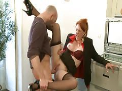 Milf redhead in business suit slammed tubes