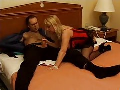 Milf in corset and stockings has sex tubes