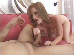 After deepthroat his cum coats her face tubes