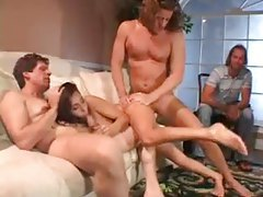 Husband watches his wife in a threesome tubes