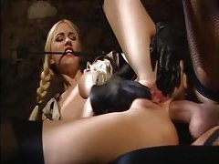 Hot natural titty chick in gloves fucked hard tubes