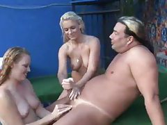 Two girls in hot tub give him a handjob tubes