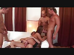 Hardcore scene with skinny brunette in gangbang tubes