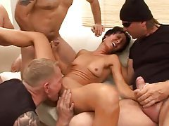 Skinny milf excited to be in gangbang tubes
