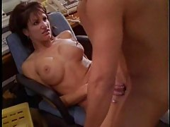 Janitor fucks a slut in the hallway tubes