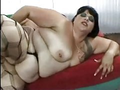 Fat fuck in stockings fucked in the ass tubes