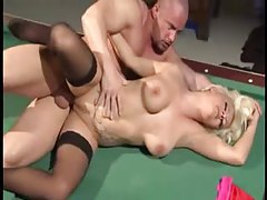 Guys DP the tattooed blonde on pool table tubes