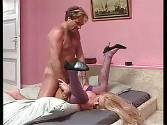 Babe in purple stockings fucked missionary style tubes