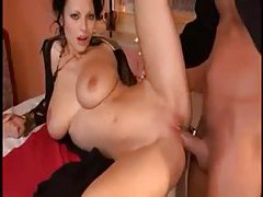 Super hot Euro girl with huge naturals in threesome tubes