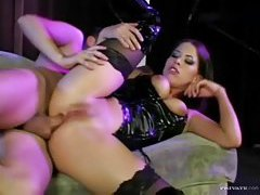 Horny latex lass fucked in the ass tubes