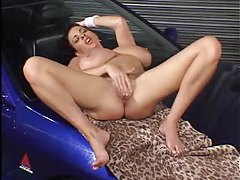 Car wash girl masturbates on the hood tubes