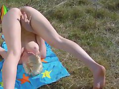 Outdoors with smooth flexible blonde girl tubes