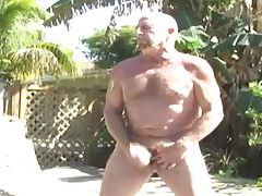 Daddy Chuck Plays With Himself And Some Sun Lotion tubes