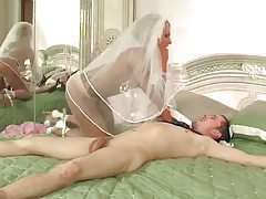 His lovely bride in pantyhose sits on his dick tubes