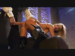 Pierced blonde in boots loves an anal banging tubes