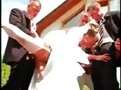 Gangbang of a hot bride with pissing tubes