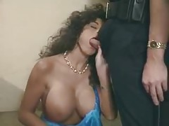 Busty wife blows two cops in her house tubes