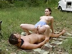 Smoking hot natural girl fucks on blanket in grass tubes