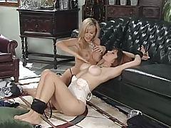 Busty hot lesbians get into light bondage tubes