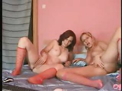 Chicks do a 69 during webcam show tubes