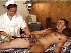 Nurse makes his cock hard with tease tubes