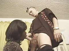 Black tgirl sucks skinny white guy tubes