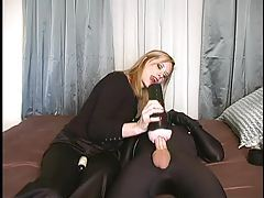 Guy in spandex cums for his mistress tubes