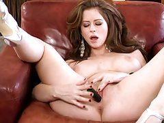 Gloriously glamorous milf toys her vagina tubes