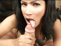 Dark haired Latina cocksucker on her knees tubes