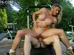 Muscular girl with fake tits fucked outdoors tubes