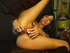 Solo girl has toys for both holes tubes