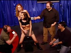 Schoolgirl babe rides Sybian on Howard Stern show tubes