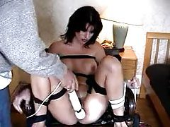 Bound girl has pussy vibrated beyond pleasure tubes