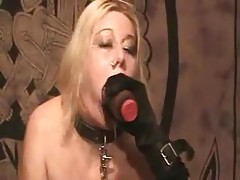 Fetish girl in collar uses toys and pisses tubes