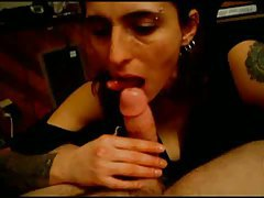 Pierced and tattooed girl sucks his cock tubes