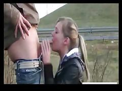 Cute GF gives deepthroat blowjob by highway tubes
