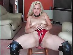 Leather boots and latex panties solo tubes