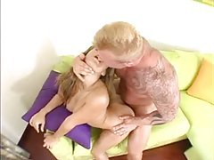Horny shaved babe sits atop the hard cock tubes