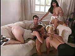 Three women worship his cock tubes