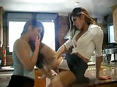 Girls squirt lots and pee in the kitchen tubes