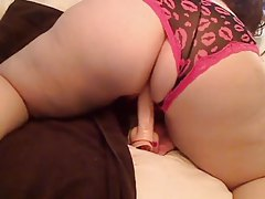 Fat girl in panties toys her tasty pussy tubes