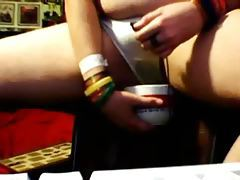 Fat girl pissing on her webcam tubes