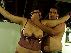 Bound fat chick gets flogged tubes