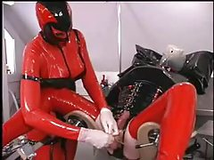 Latex femdom with CBT tubes