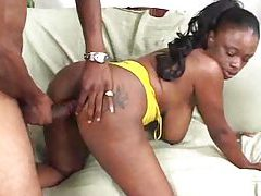 Flabby, curvy black chick and black dick tubes