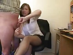 He lets the secretary smack his cock and balls tubes