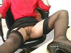 Secretary modeling her gorgeous milf stockings tubes