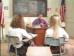 Schoolgirls on the desk having teacher sex tubes