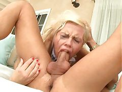 He pushes blonde whore down on his cock tubes