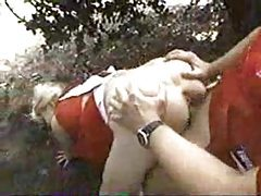 Cheer girl and football guy fuck in woods tubes